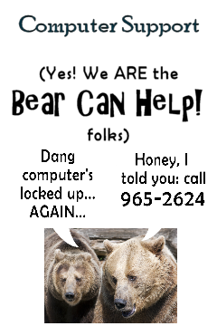 Bear Can Help! Our IT folks (OK, just one folk: Bear) can troubleshoot and fix (or set up) your home or small-business computer or computer network. Click <b>Computer Support</b> for more info!